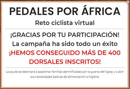 Cartel del reto solidario virtual Pedales por África